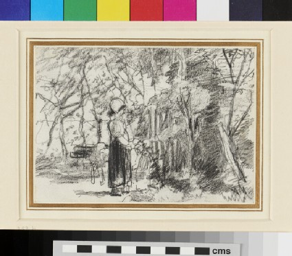 Recto: Peasant Child leaving a Sheep amid Trees<br />Verso: Chickens