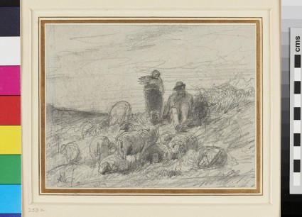 Recto: Two Peasants with grazing Sheep <br />Verso: Sketch of a bearded Man