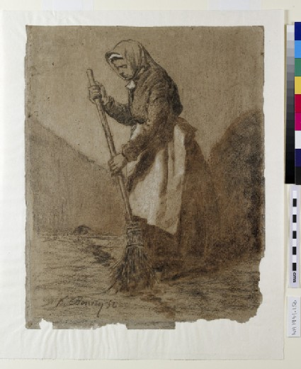 A woman sweeping, turned to left