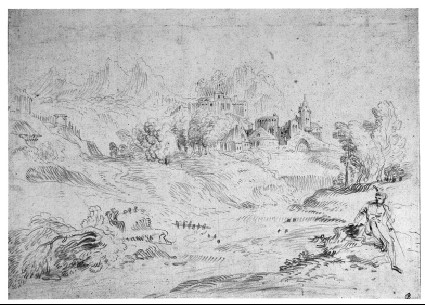 An Italianate landscape with a figure seated on the right
