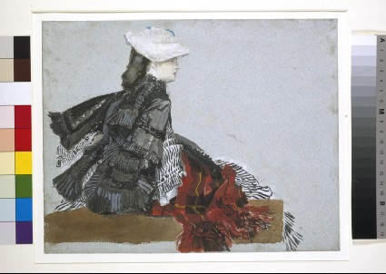 A woman seated in profile, facing right