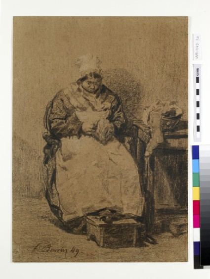 A seated woman, sewing by a table
