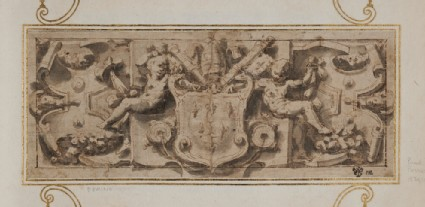 Decorative tablet flanked by two nude boys, with the coat of arms of Pope Paul III (Alessandro Farnese)