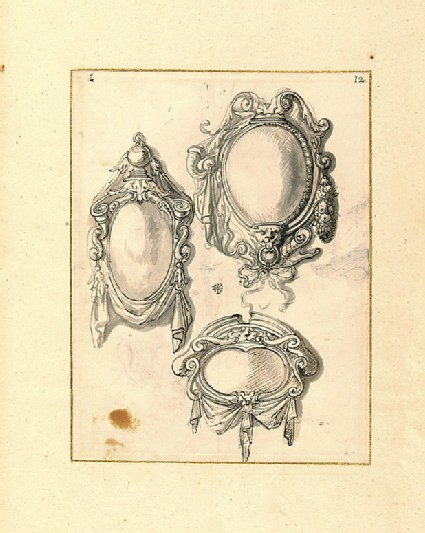 Recto: Three cartouches decorated with looped curtains and other motifs