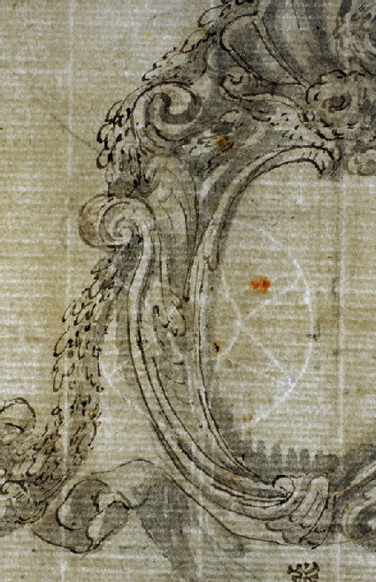 Recto: Two cartouches, showing alternative treatments for each, with scrolls beneath<br />Verso: Faint Sketch