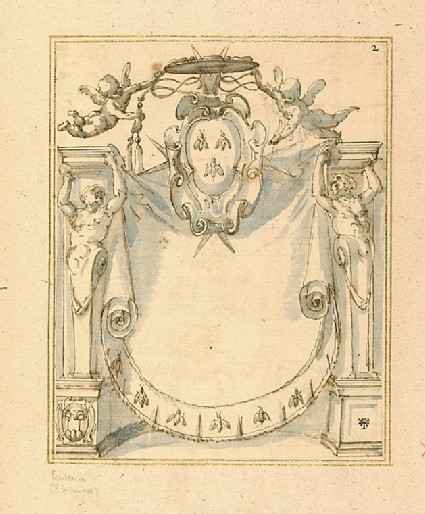Design for a title-page with the arms of Cardinal Antonio Barberini Junior (1607-1671)