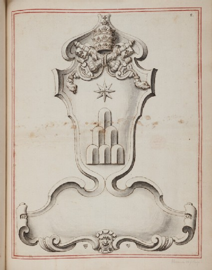 Design for a cartouche surmounted by the coat of arms of Pope Alexander VII (Fabio Chigi)