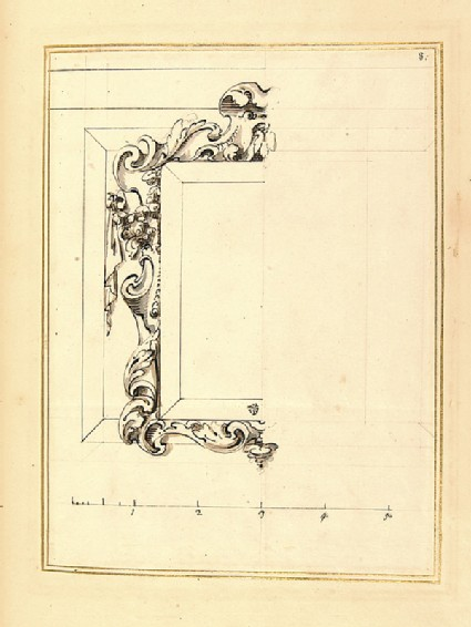 Half design for a rectangular frame with a decorative border of swept foliage