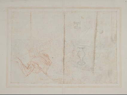 Recto: Half design for a highly ornate cartouche with motifs including a winged female figure, a dog's head, cornucopia, etc.<br />Verso: Slight figure study