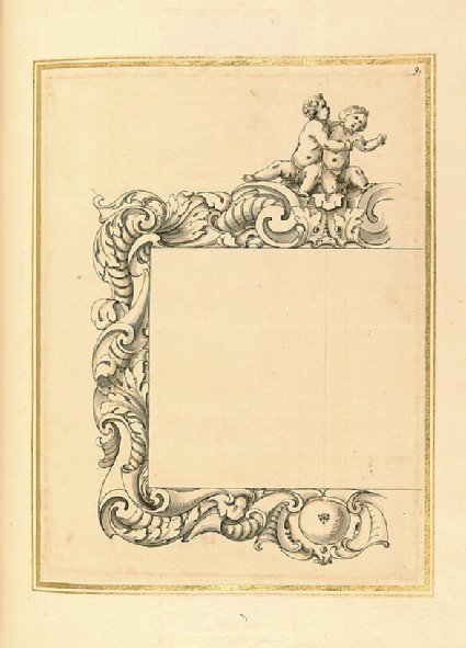 Half design for a rectangular frame with a decorative border of swept foliage surmounted by two putti at play