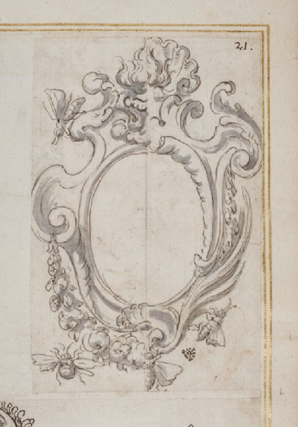 An empty cartouche, showing alternative treatments and decorated with the Barberini bees
