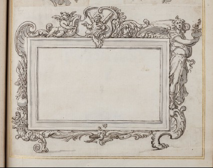 Design for an oblong rectangularframe showing alternative treatments and surmounted by a figure of Saint Andrew