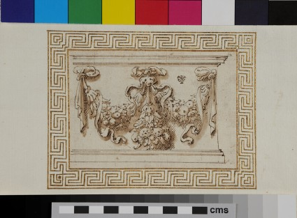 A frieze decorated with festoons
