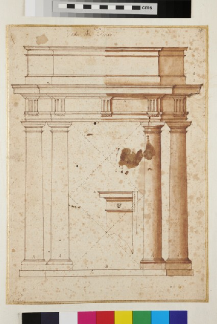Recto: A Doric entablature supported by four columns <br />Verso: A faint sketch