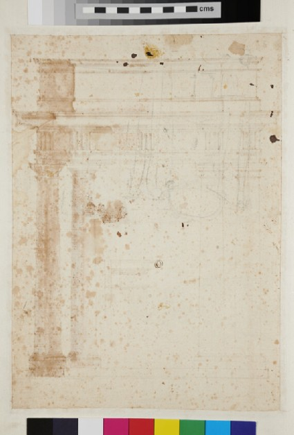 Recto: A Doric entablature supported by four columns 