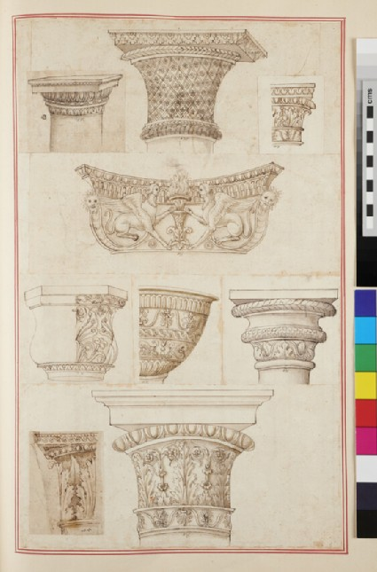 Eight capitals of various orders and a basin