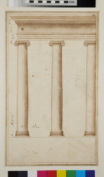 Three Ionic columns supporting an entablature