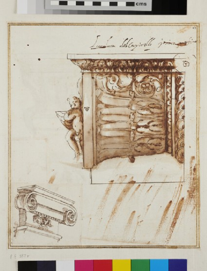 Recto: Half a volute of an Ionic capital and an Ionic capital of a pilaster<br />Verso: Two designs for kneeling prayer desks or altars, an altar and a standing angel