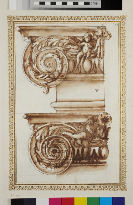 Two half Ionic capitals with putti