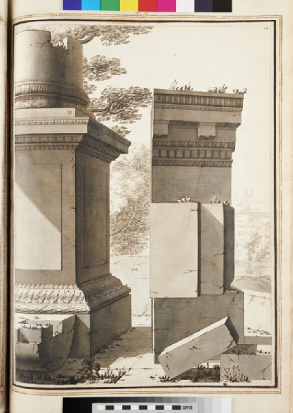 A ruined Ionic base and column with the entablature on the right, set against a landscape