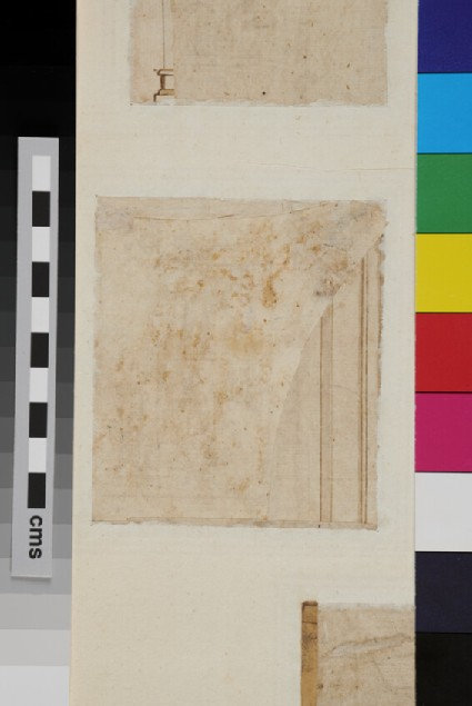 Recto: Half of a Corinthian capital, on a piece of paper pasted on <br />Verso: A fragment of an architecture