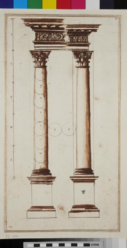 Two Corinthian columns and their entablatures