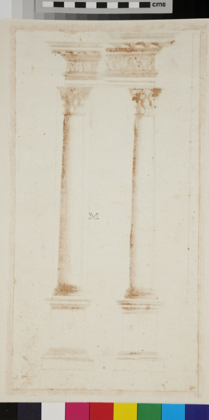 Two Corinthian columns and their entablatures