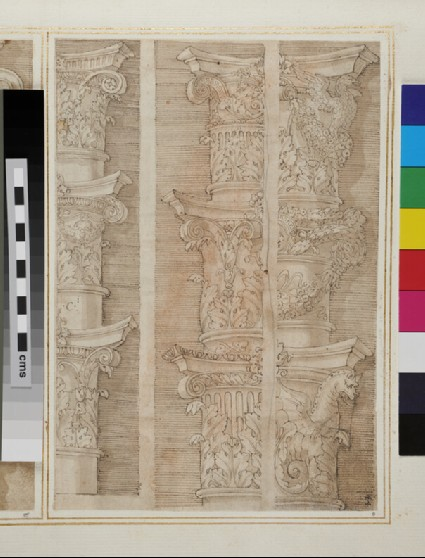 Recto: Nine Composite capitals <br />Verso: Detail of the facade of Raphael's Palazzo Branconio dell'Aquila