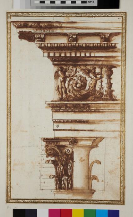 A Corinthian capital and its entablature