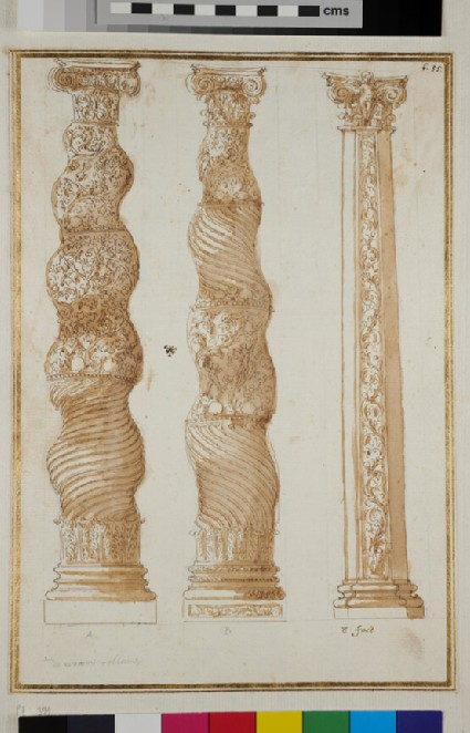 Two twisted columns and one polygonal column