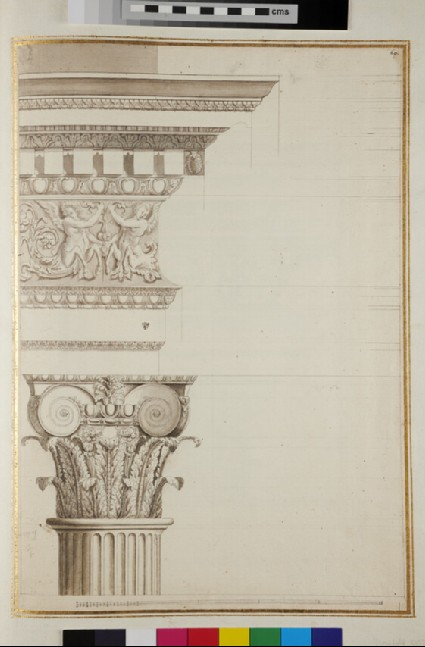 A Composite capital supporting an entablature