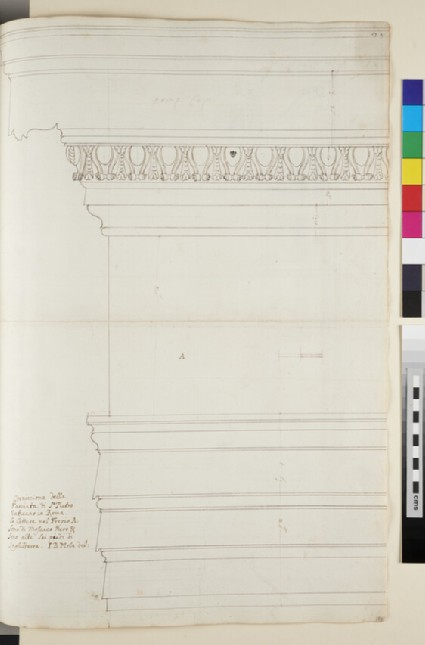 Recto: The external Corinthian cornice of the Basilica of St Peter, Rome 