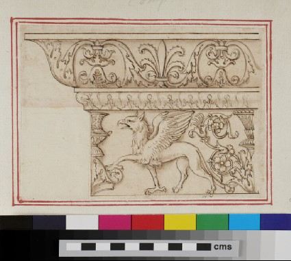 A cornice and frieze with a gryphon