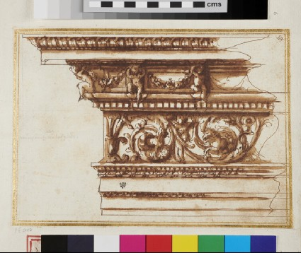 An entablature with a frieze of acanthus foliage and putti holding a garland