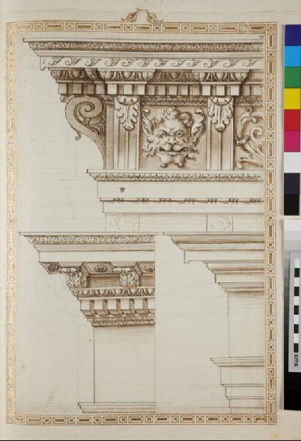 Three entablatures with lion heads and acanthus leaves