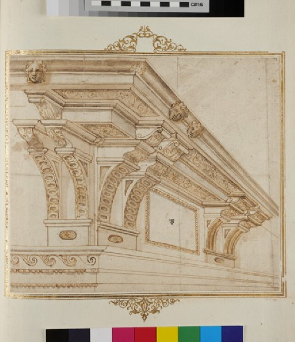 Recto: A perspectival view of a Composite entablature  Verso: A volute