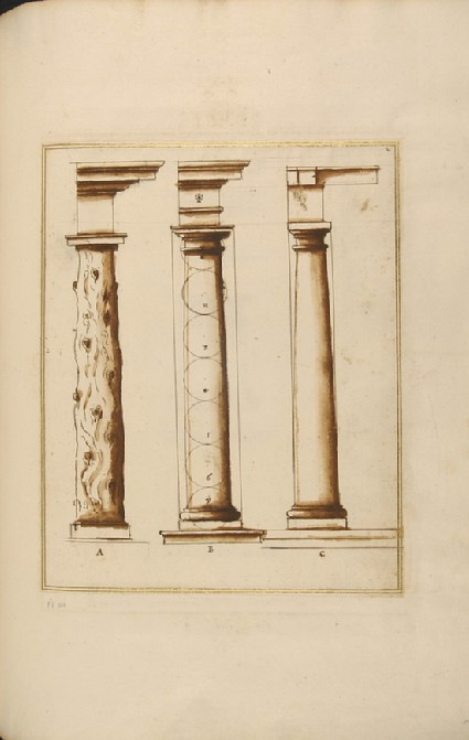Three columns of the Tuscan order supporting entablatures