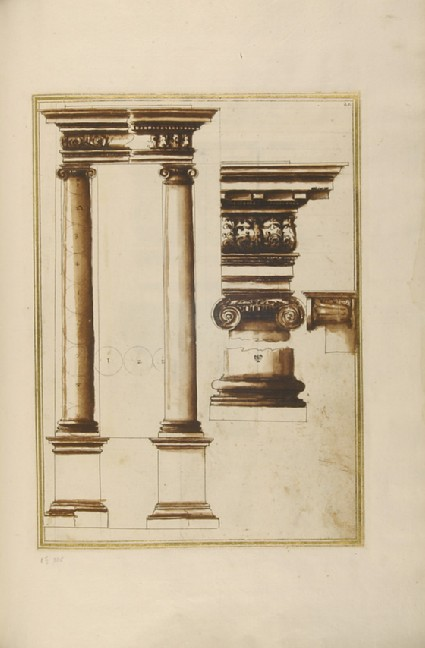 Two Ionic columns with entablature and details of the cornice, architrave, capital, and base