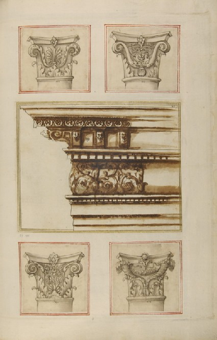 A cornice, frieze and architrave