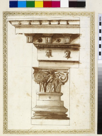 A Corinthian capital, base and entablature