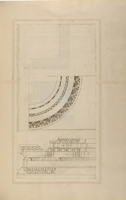 Recto: Three Ionic cornices