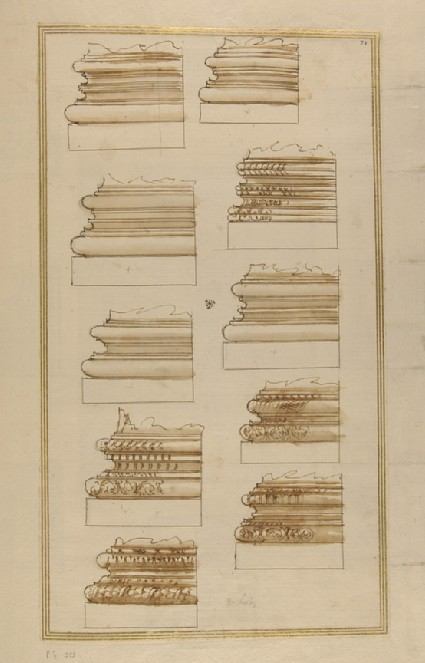 Ten Corinthian column bases