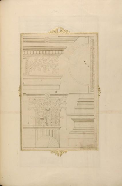 Corinthian entablature, capital and base