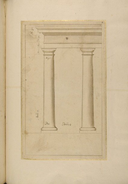 Two Tuscan columns supporting an entablature