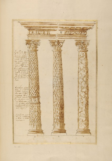 Three ornamental columns supporting an entablature, their shafts decorated respectively with ivy, oak and vine leaves