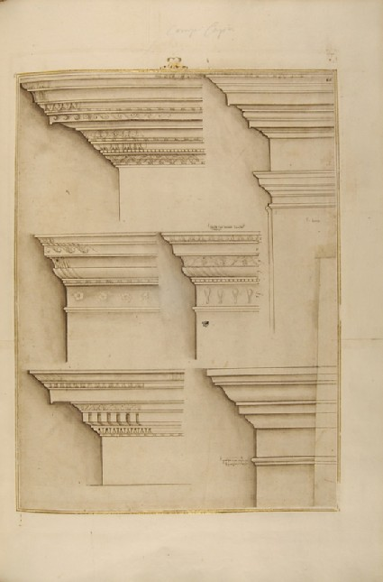 Seven entablatures of the Ionic, Tuscan and Corinthian orders