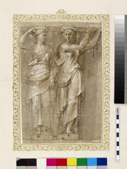 Recto: Two female Ionic caryatids <br />Verso: A Ionic male telamon