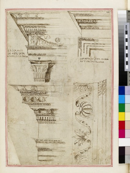 Michelangelo's Ionic capital and base for a building on the Capitoline Hill, with measurements