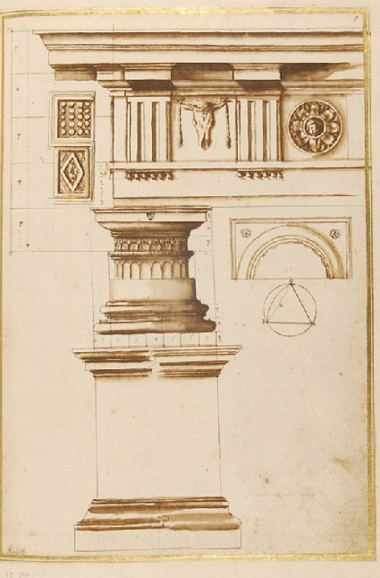 Entablature, elevation and plan of a capital, base and plinth of the Doric order