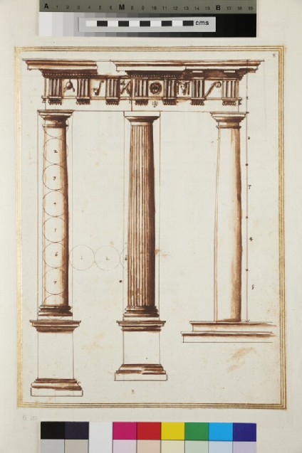 Three Columns of the Doric order supporting an entablature